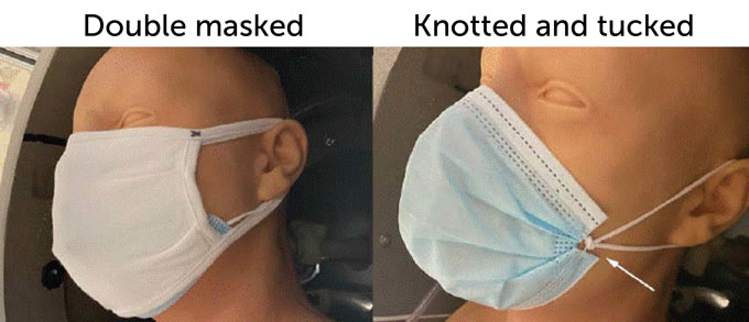 CDC mannequin wearing two masks and knotting and tucking mask ends